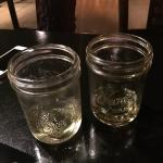 Love these quirky glasses (jars) we got our drinks in