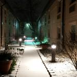 Courtyard on a snowy night