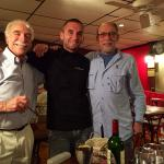 Chef/Owner Bertrand Flocard enjoys compliments from Vittorio and Steve.
