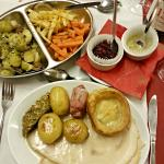 Main course with selection of vegetables