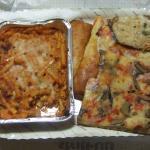 マカロニパスタとピザ