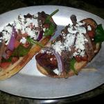 """Jim Bruschetta"" - chopped tomatoes, olive oil, basil, anchovies, red onion & gorgonzola"