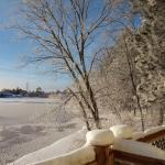View from our deck of the river that froze overnight at -13
