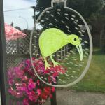 Mihi Cafe New Years Day 2015 - Kiwi Xmas decoration in window