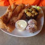 Perch fillets, shrimp and okra.