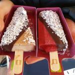 Uno stecco alla nocciola e un sorbetto di lampone con copertura di cioccolato fondente e cocco
