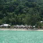 view of the resort as we approached by boat