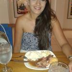 my wife enjoying the brunch