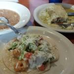 Shrimp Taco, Fish Enchilada Verde, and their very tasty Refried Pinto Beans ~ $10.50