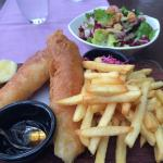 Fish and chips and chopped salad
