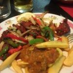 Lamb tikka with chips and sauce
