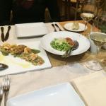 Appetizers (quinoa salad and pesto squids)