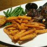 Lamb rump steak with sweet potato fries.
