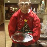 Strange, funky dummy waiter in lobby. Either fun or weird, depending on your taste.