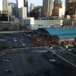 View of Charlotte from the lobby (green building is bus station and hotel overlooks parking lot)