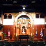 The Lithuanian choral synagogue replica in the auditorium.