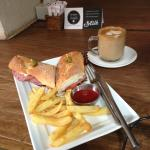 cafe latte and salami sandwich
