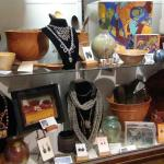 Pieces of art by local designers, for sale in the gift shop