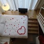 Rose Petal arrangement and the room