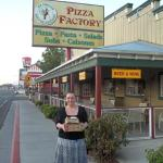 Happy bunny with my pizza in Bishop!