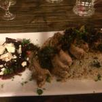 Roasted chicken Florentine with jasmine rice and roasted beets