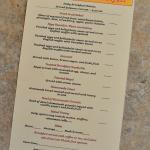 Sample breakfast menu, featuring a different special each morning