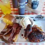 Lunch Texas brisket with BBQ chicken and cornbread
