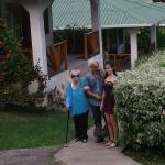My mom, brother and niece in front of our cabana