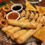 Thai Appetizer Sampler - Curry Puffs, Spring Rolls, Fried Calamari