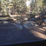 Shattered window in cabin.