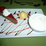 Dessert platter with black forrest cheese cake, ice cream and Amaretto mouse