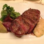 New York sirloin with artichoke hearts and rich, creamy Bearnaise sauce