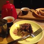 Delicious pecan bar and tea