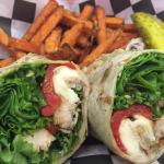 The Val-Kill Chicken wrap and sweet potato fries!