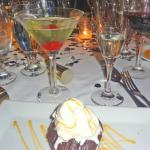 yummy lava chocolate cake and apple martini