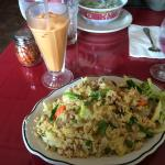 Chicken Fried Rice w/ Thai Iced Tea!