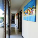 long hallway with beautiful art pieces