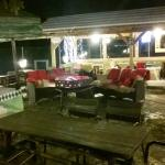 Outside sitting area with open fire place
