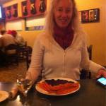Debbie with sweet potato fries with her steak