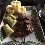 Anticuchos, corn and tamals