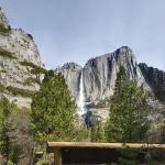 Yosemite Valley Lodge building - Yosemite Falls in the background