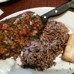 Bistec a la vinagreta...Vinaigrette Steak with rice & black beans & fried cassava. YUMMY!