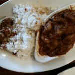 Carne con papas...stewed beef with potatoes, white rice & red beans.