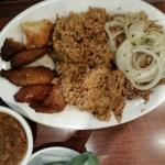 Lechon asado...roast pork with rice & pigeon peas & fried plantains.