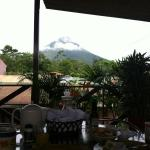 View of the volcano during breakfast
