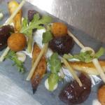 beetroot, pears, stilton beignets, roast garlic creme fraiche