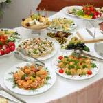 The food for the buffet