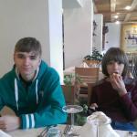 in restaurant at breakfast