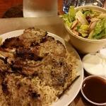 Organic Grass Fed Lamb Chops, Organic Brown Rice, Salad with Goji Berry Dressing