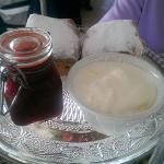 Warm scones, cream and jam!
